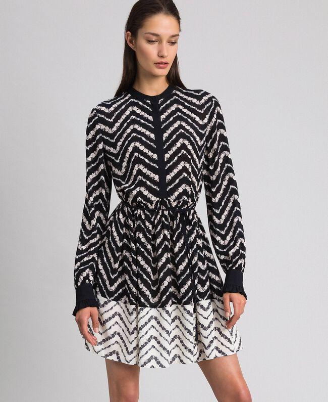 """Chevron floral print shirt dress Black / """"Snow"""" Chevron Print Woman 192TP2523-01"""