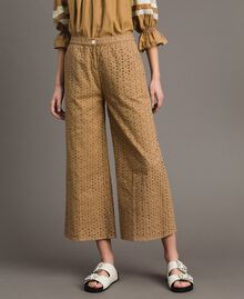 """Voile trousers with broderie anglaise embroidery """"Savannah"""" Beige Woman 191ST2115-02"""