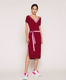 """Two-tone knit dress with belt Two-tone """"Crimson"""" Red / Superpink Woman 201ST3030-01"""