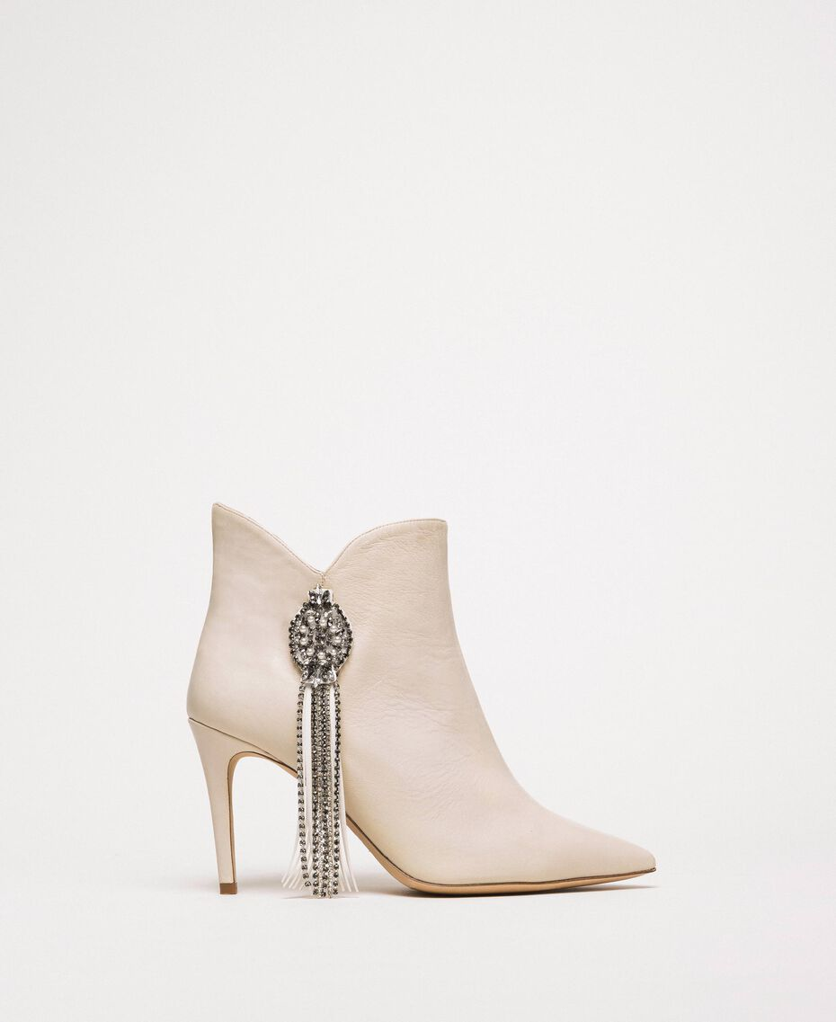 Nappa leather ankle boots with jewels and fringes White Snow Woman 201TCP030-02
