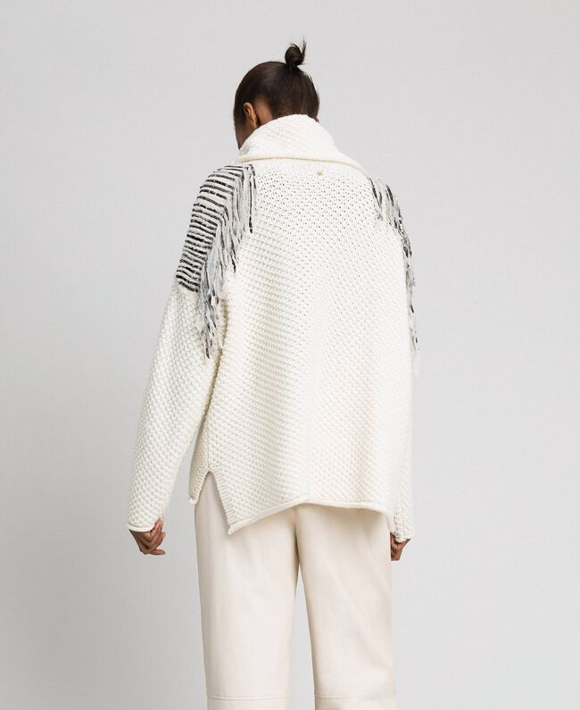 Oversize jumper with sequins and fringes White Snow Woman 192TT3231-04