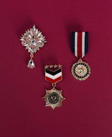 Cardigan rayé avec broches style militaire Bicolore Noir / Lys Femme 192MP3251-06