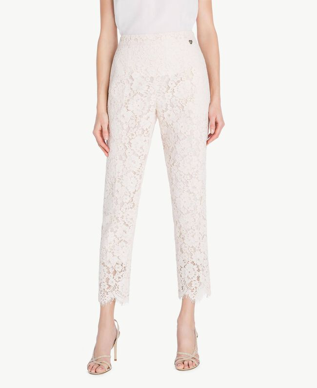 Lace drainpipe trousers Pale Ecru Woman PS82XG-01