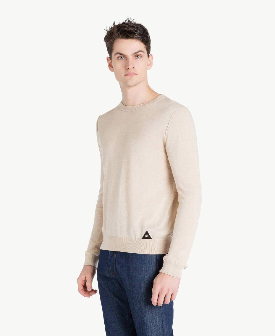 Pullover aus Baumwolle und Kaschmir Porzellan Beige Mann US831B-02