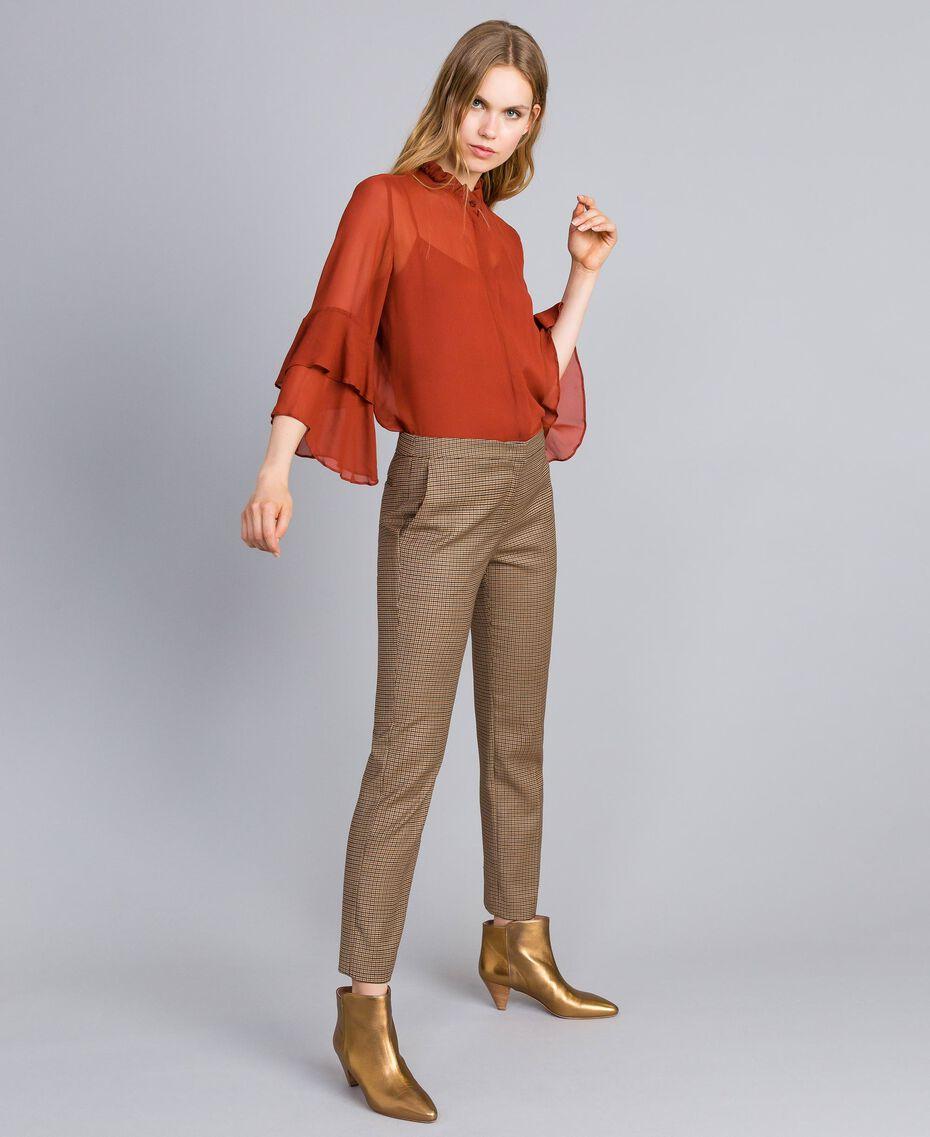 """Pantaloni a sigaretta in misto lana Jacquard Quadretti Arancione """"Bruciato"""" Donna TA821P-02"""