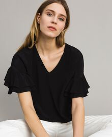 Блуза из смесового шелка Черный женщина 191TT2075-01