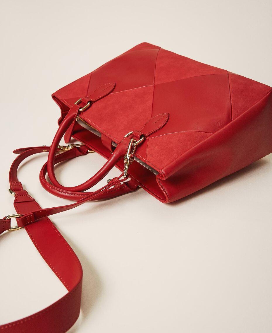 Sac shopping en similicuir Rouge Cerise Femme 202MA7020-03