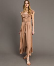 "Long dress in flowing glossy fabric ""Petra Sandstone"" Brown Woman 191LM2GAA-02"