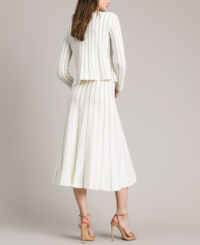 Mid-length skirt with lurex stripes Black Woman 191TP3253-03