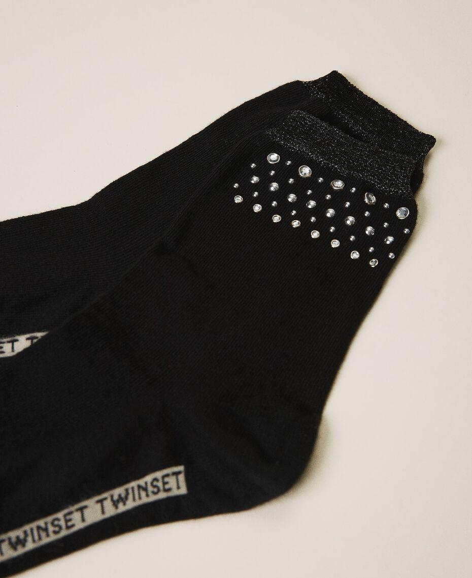 Носки с заклепками и шатонами Черный женщина 202TA4369-01