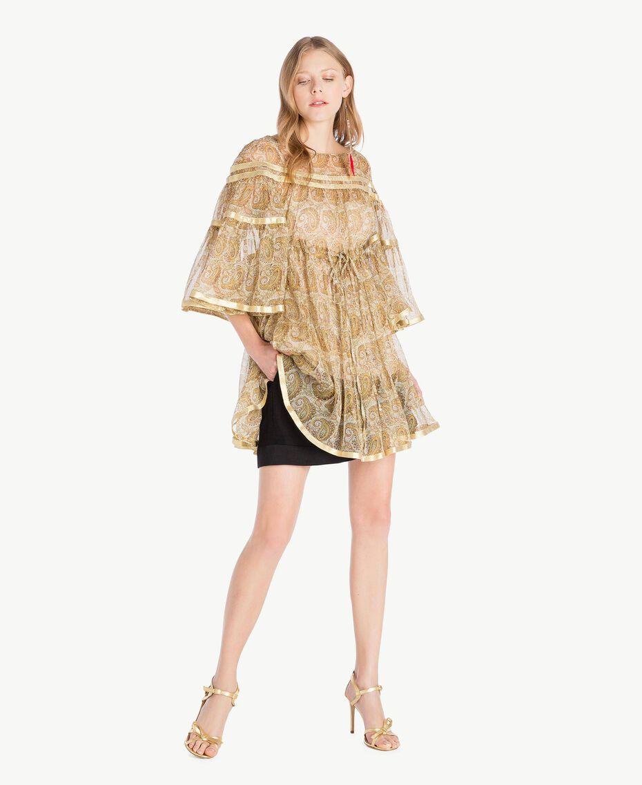 Silk tunic Yellow Macro Paisley Print Woman TS825N-01
