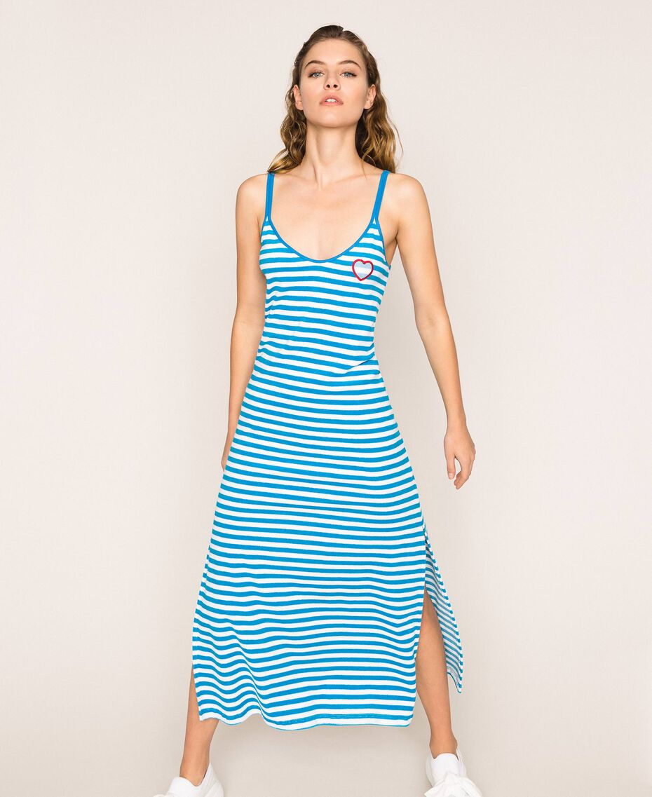 "Striped terry cloth long dress Two-tone ""Bay"" Blue / Optical White Woman 201LM2LQQ-02"
