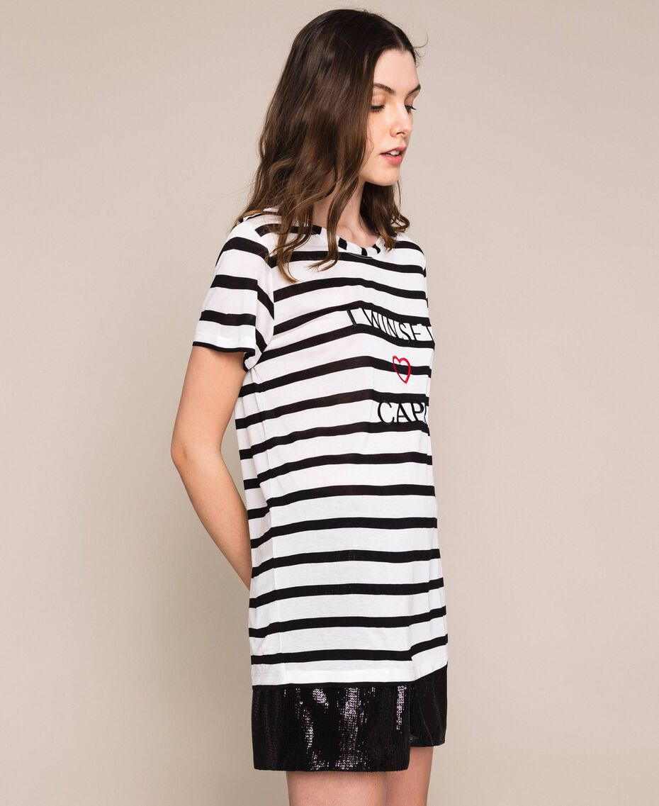 Striped maxi T-shirt with embroidery Capri Stripes Woman 201LM2LUU-03