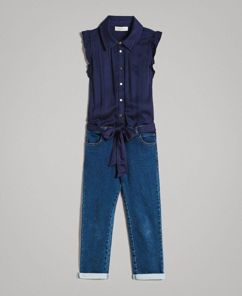 Satin-Trainingsanzug und Pullover im Denim-Look Indigo Kind 191GJ2382-01