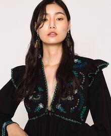 Boucles d'oreilles pendantes avec cabochons et perles Or «Laiton Vieilli Cuivré» Femme 201TO530E-0S