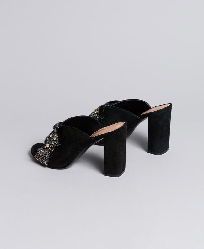 Suede mules with bow Black Woman CA8PP3-03