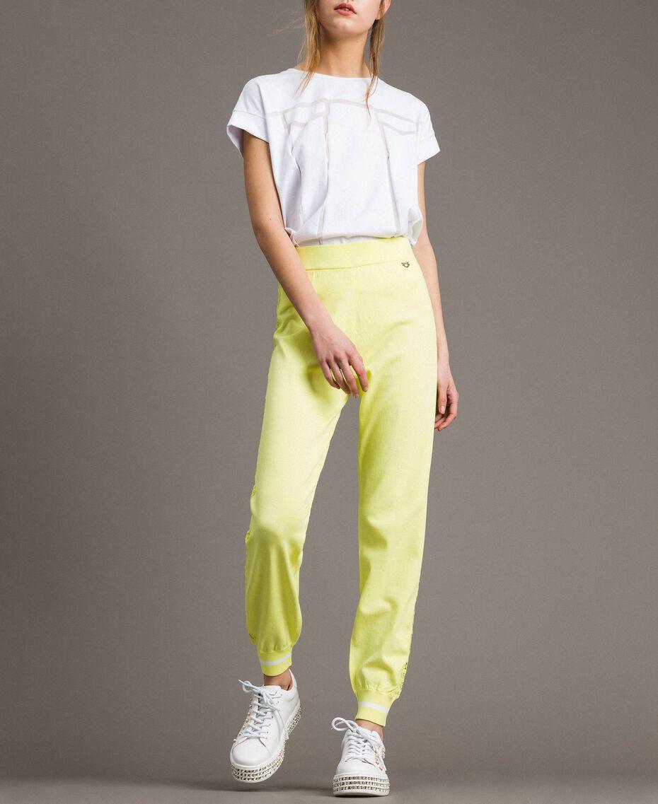 """Pantaloni jogging con bande effetto pizzo Giallo """"Lemon Juice"""" Donna 191LL36CC-02"""