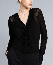 Cardigan en laine mélangée avec mélange de points Noir Femme PA83C2-01