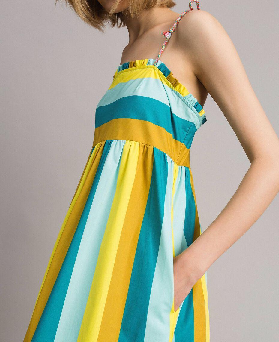 Mehrfarbig gestreiftes Popeline-Maxikleid Multicolour Motiv Keramikblau Frau 191TT2411-02