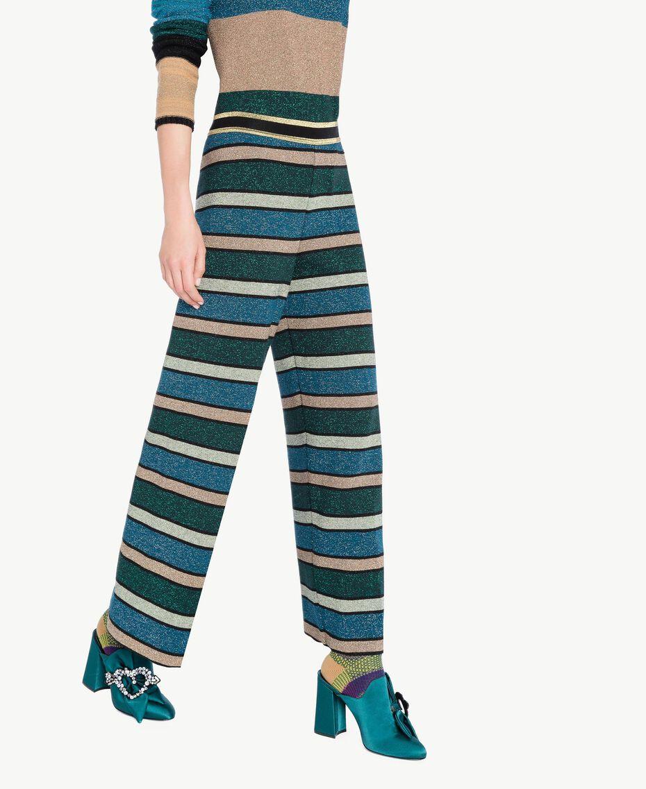 """Pantalone righe lurex Multicolor """"Blu Baltico"""" PA7333-02"""