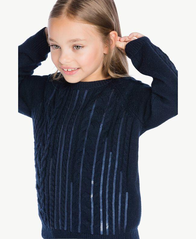 Pullover mit Zopfmuster Blue Night Weiblich GA73BA-04