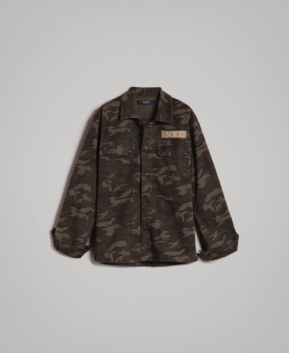 Camouflage print cotton shirt Dark Camouflage Print Man 191UT2020-0S