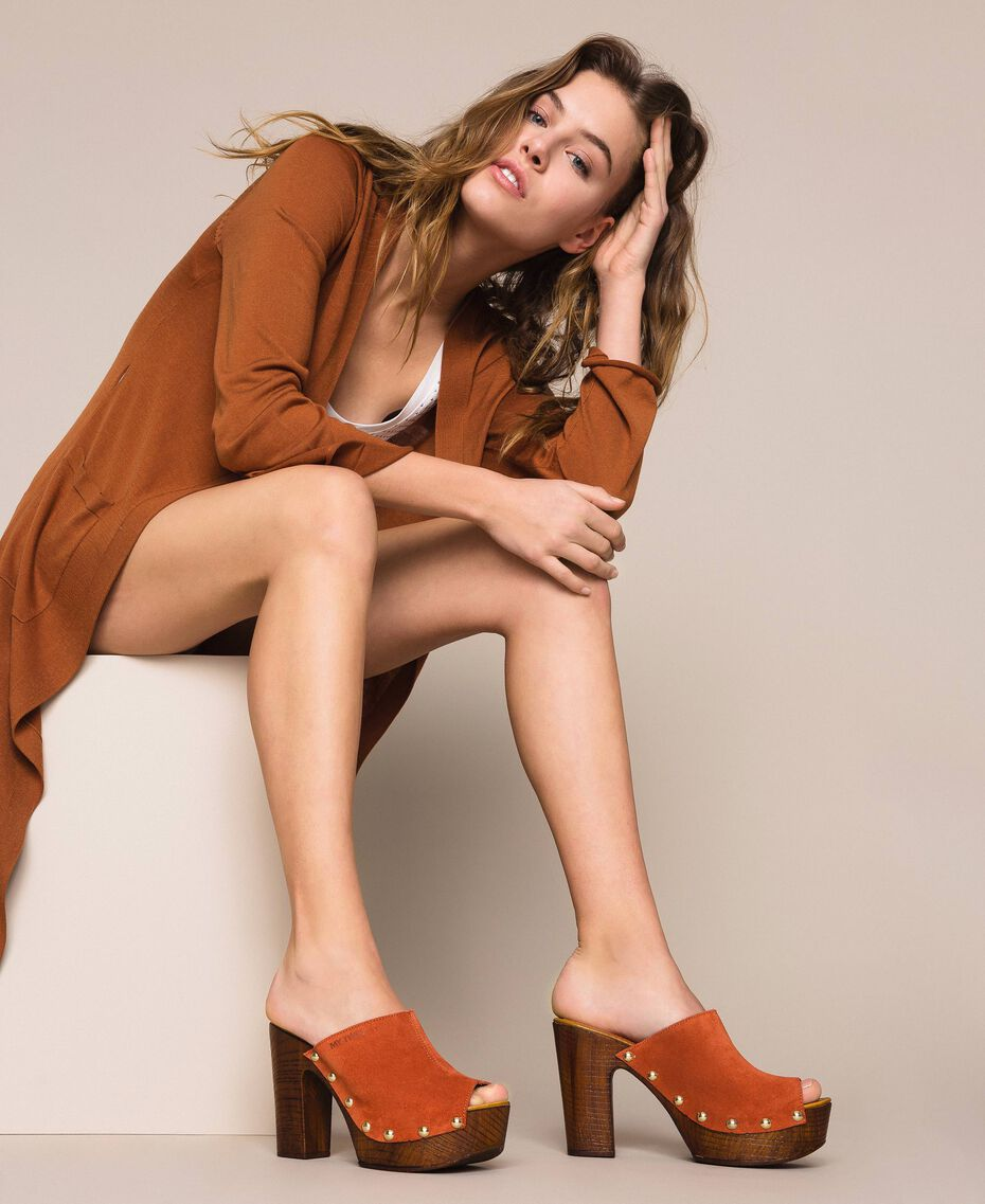 Suede sabots Terracotta Woman 201MCT01G-0S