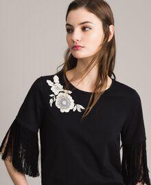 T-shirt avec broderie et franges Noir Femme 191TT2131-01