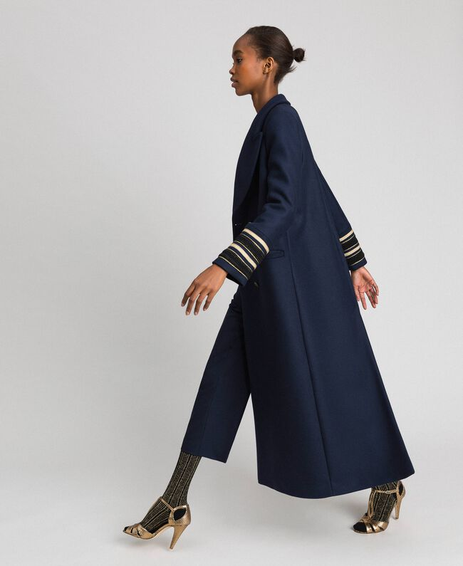 Double breasted wool cloth long coat Midnight Blue Woman 192TT2160-01