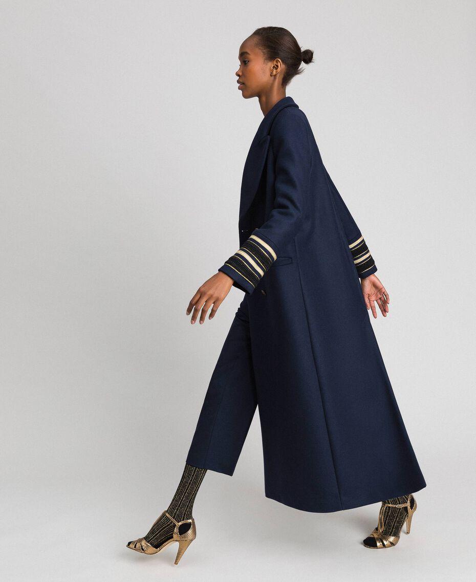 Длинное двубортное пальто из сукна Синий Midnight женщина 192TT2160-01