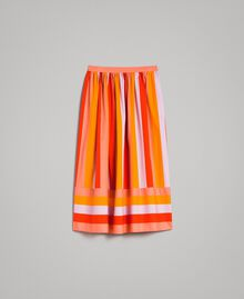Multicolour striped poplin skirt Multicolour Grenadine Print Woman 191TT2413-0S