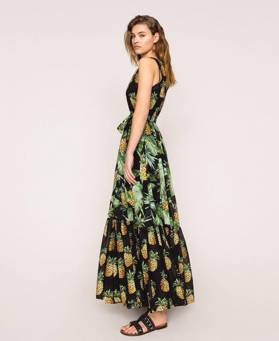 Robe longue imprimée à volants Imprimé Summer Fruits Noir Femme 201TT2463-03