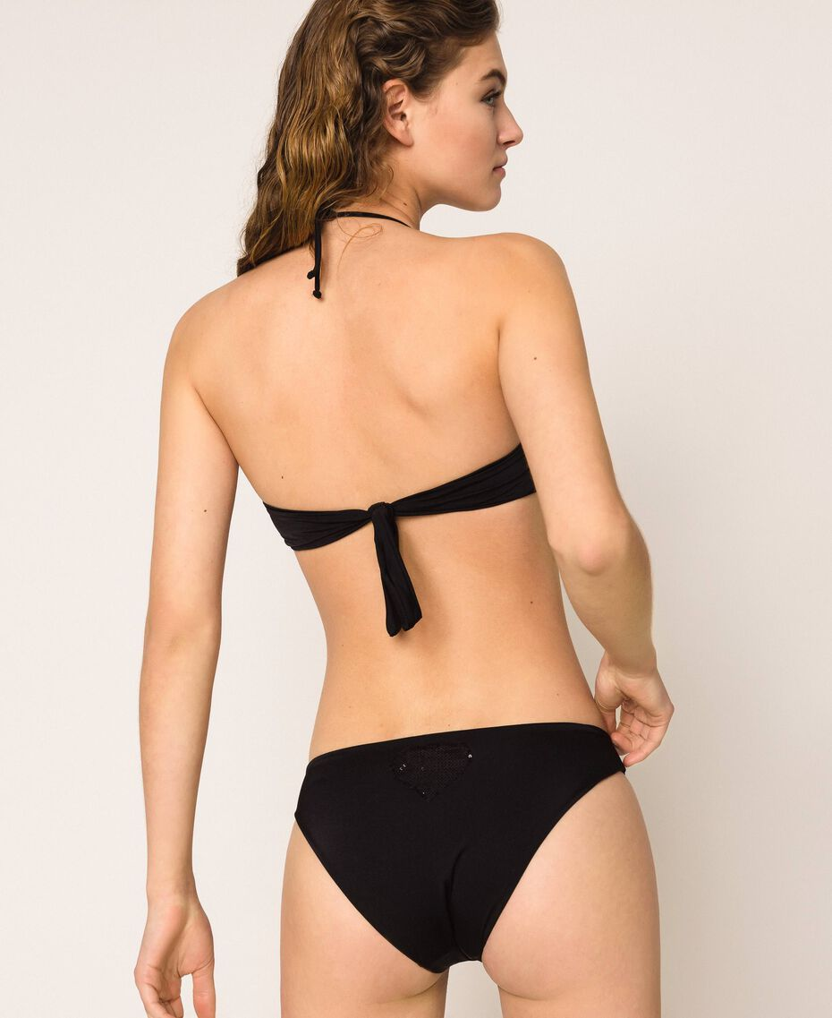 Bikini bottom with sequins Black Woman 201LBMC66-03