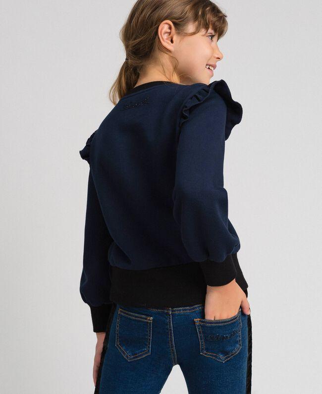 Flocked stripe sweatshirt with buttons Blue Night Child 192GJ2231-03