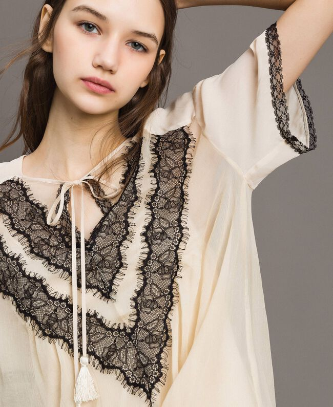 Crepon blouse with lace Ecrù Woman 191ST2201-04
