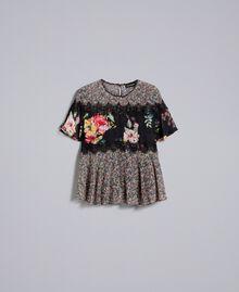 "Bluse aus Georgette mit Blumenprint Print ""Flower Patch"" Frau PA82MH-0S"