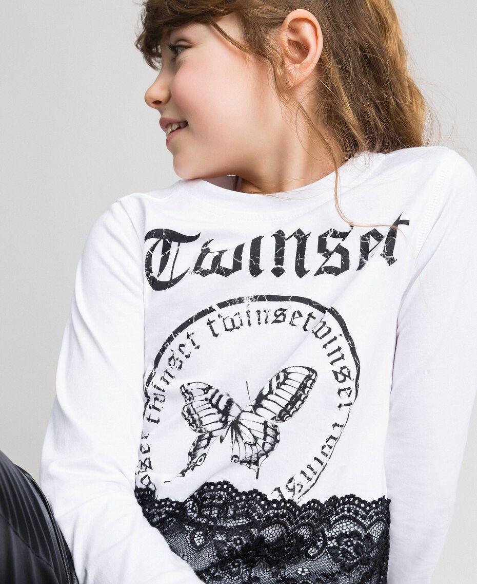T-shirt con stampa e pizzo Bianco Ottico / Nero Bambina 192GJ2393-01