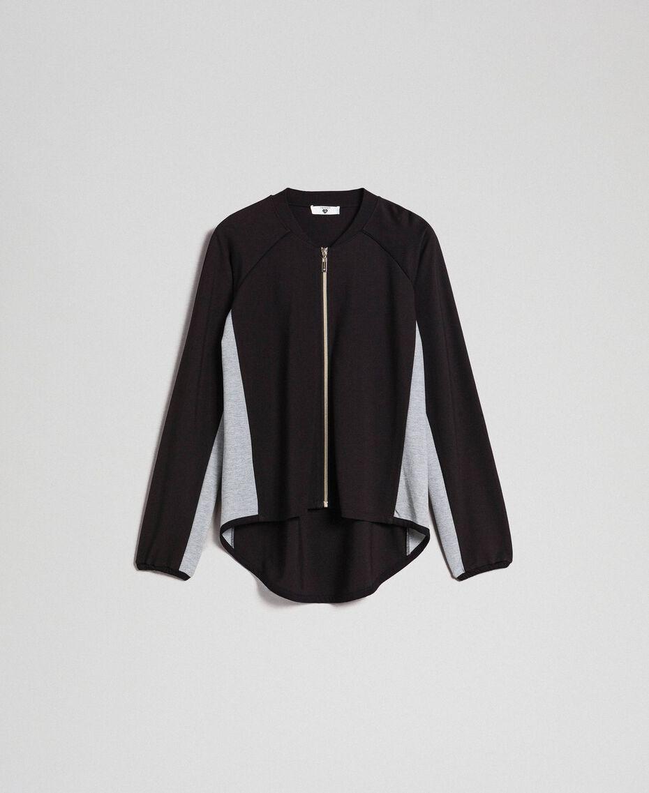 Zip sweatshirt with contrasting details Black/ Melange Gray Woman 192LI2HEE-0S