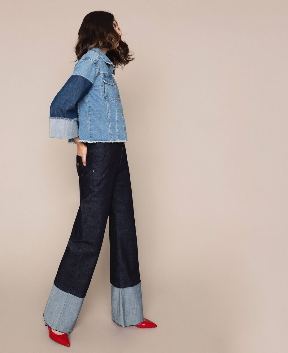 Свободные прямые джинсы с высоким отворотом Синий Деним женщина 201MP2340-02
