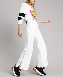 Wide leg jeans with slits White Cream Woman 191MP2500-01