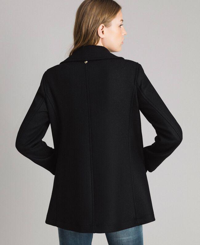 Mantel aus Tuchstoff Schwarz Frau 191MP2461-04