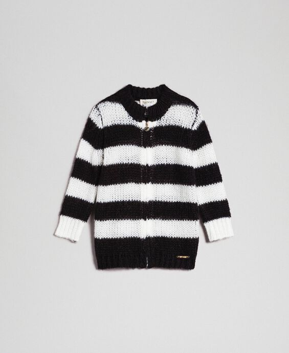 Two-tone striped mohair cardigan