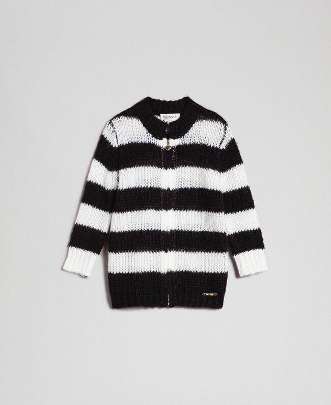 Cardigan en mohair à rayures bicolores Jacquard Rayures Noir / Blanc Cassé Enfant 192GB3130-01
