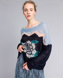 Rose mohair jumper Blue Jacquard and Printed Rose Woman PA837A-01