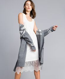 Kleid im Unterkleidstil mit Spitze Perlmutt Frau JA82TA-0T