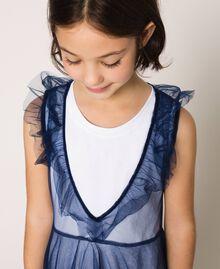 """Langes Kleid aus Tüll mit Volant Zweifarbig Nachtblau / """"Papers""""-Weiß Kind 201GJ2Q50-05"""