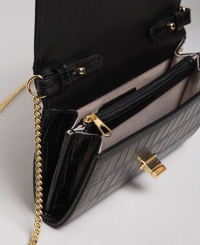 Small printed leather shoulder bag Black Woman 192TO8043-04