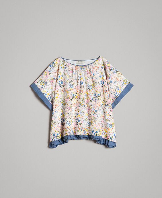Muslin blouse with print