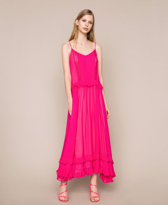 Long georgette dress with hemstitch embroidery