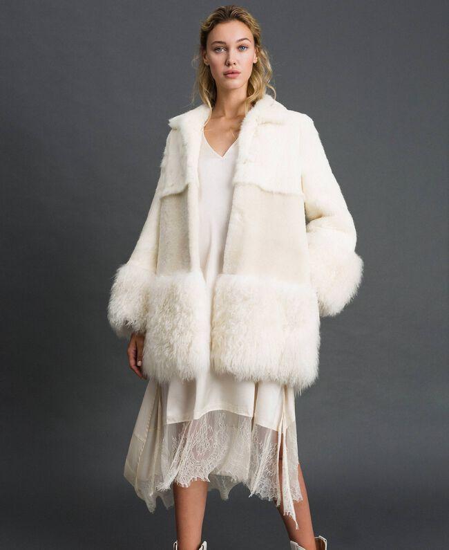 Mixed fur coat White Snow Woman 192TT2390-05